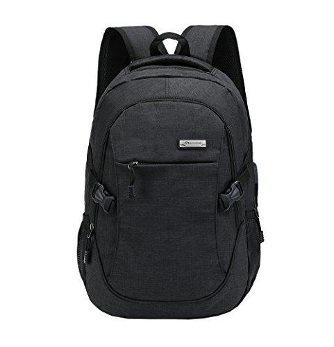 Hombres Impermeables Bolsa de Ordenador Bolso del Senderismo 15 Pulgadas Portátil Mochilas Estudiantes Mochila de Escolar Daypacks (Azul) Negro