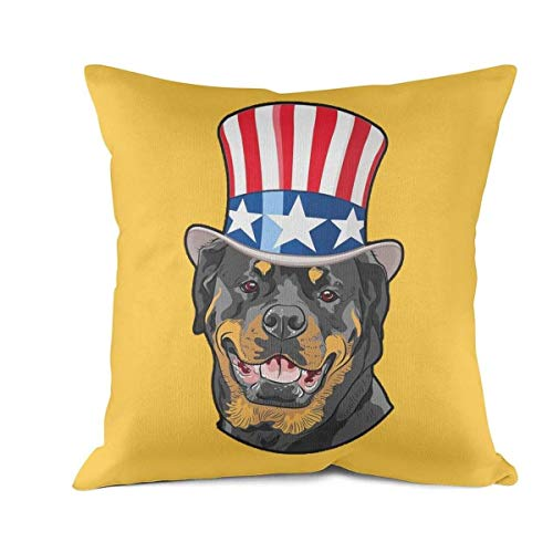 Heart Wolf Rottweiler American Flag Hat Patriotic Dog Throw Pillow Covers 45x45cm Hypoallergenic Durable Breathable Pillowcase Classic Eco-Friendly Cushion Throw Pillow Covers