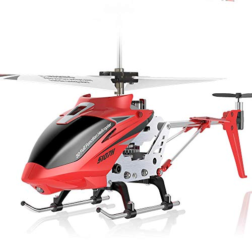 Remote Control Helicopter, S107H Aircraft with Altitude Hold, One Key take Off/Landing, 3.5 Channel, Gyro Stabilizer and High &Low Speed, LED Light for Indoor to Fly for Kids and Beginners(Red)