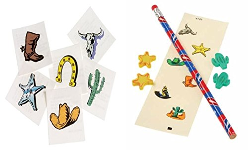 Western Party Favor set - includes 144 western tattoos, 12 pencils, 12 sticker sheets and 48 erasers