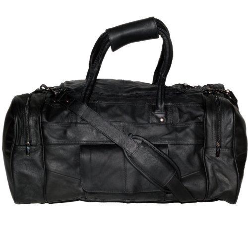 Lorenz Pour homme en cuir véritable Sac fourre-tout 4poches zippées Gym, Sac de Voyage Noir ou marron -