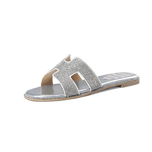 Télévision Mot Femmes Sandales Rhinestone Flip Silver Trailer Grande Toe Chaussures Flop Open Taille wIAqaqvH