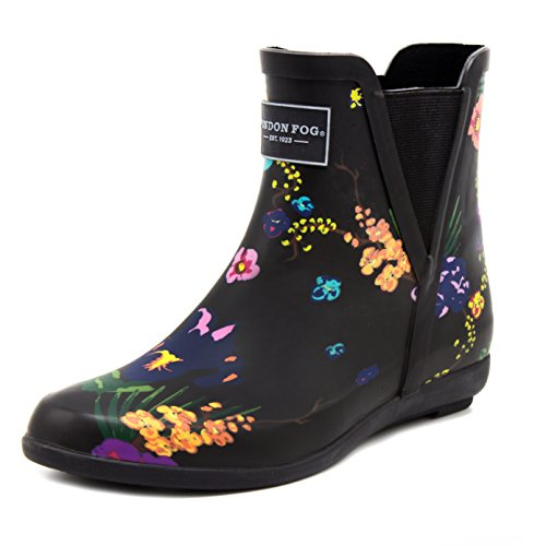 London Dimma Womens Piccadilly Regn Boot Svart Blommig