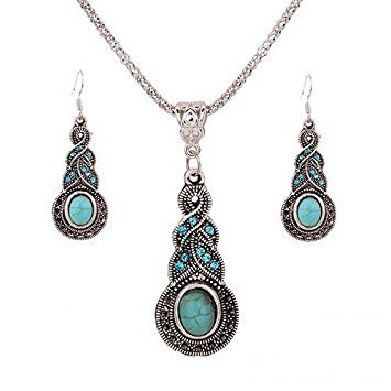 DOOPOOTOO 1 X Fashion Womens Retro Turquoise Rhinestone Earrings Necklace Jewelry Set