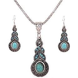 1 X Fashion Womens Retro Turquoise Rhinestone Earrings Necklace Jewelry Set By NYKKOLA