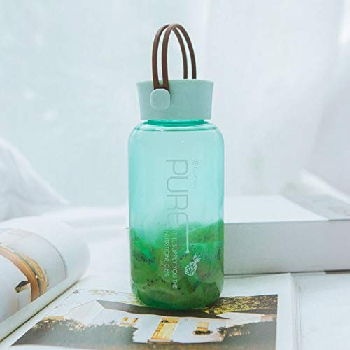 WXQ-XQ 450mL Simple Transparent Pure Color Plastic Cup Stylish Portable Leak-Proof Student Couple Cunning Handy Cup (Color : Green) by WXQ-XQ