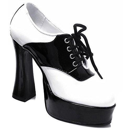 Ellie Shoes Womens 557-SADDLE Chunky Heel Saddle Shoe White/Black 35PXL6ol4r