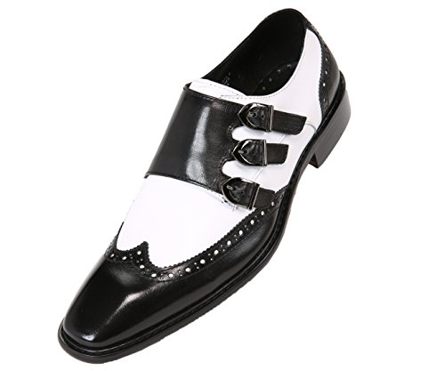 Triple Strap - Asher Green Mens Genuine Two-Tone Leather Dress Shoes, Comfortable Triple Monk Strap Wingtip Oxfords White