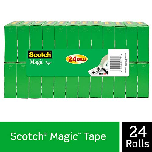 Scotch Brand Magic Tape, 24 Rolls, Numerous Applications, Cuts Cleanly, Engineered for Office and Home Use, 3/4 x 1000 Inches, Boxed (810K24)