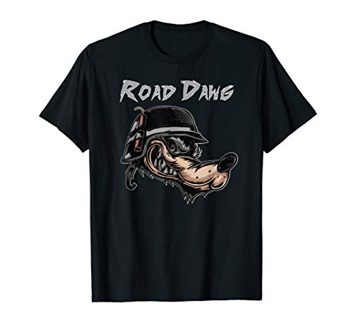 Motorcycle Biker Helmet Cartoon Road Dog Wolf Comic T-Shirt