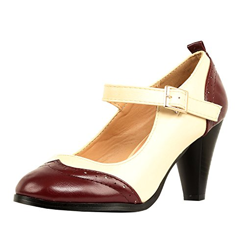 Ladies Vintage Shoes - Chase & Chloe Dora-2 Women's Round Toe Two Tone Mary Jane Pumps (10 B(M) US, Red/White)