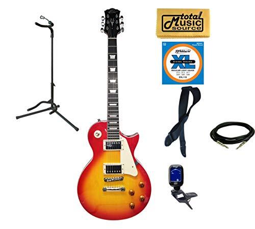 Oscar Schmidt OE20CS LP Style Electric Guitar Stand Bundle - Cherry Sunburst ()