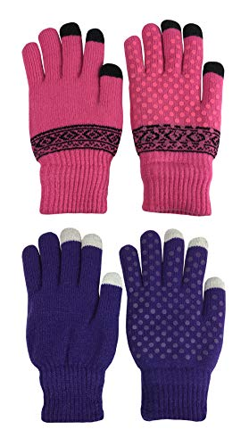 N'Ice Caps Adults Warm Plush Lined Magic Stretch Touchscreen Knit Glove - 2 Pack (Fuchsia Black/Purple, One Size) (Magic Gloves 1)