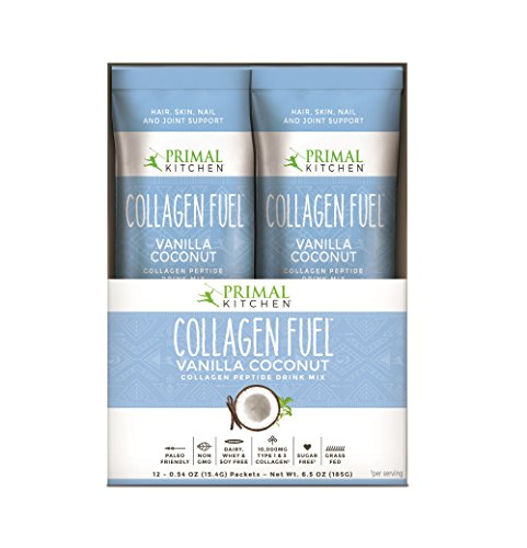 - Primal Kitchen Collagen Fuel Protein On The Go Packets, Vanilla Coconut, 12 Count - Non-Dairy Coffee Creamer, Supports Healthy Hair, Skin, Nails and Joints, Promotes Muscle Repair