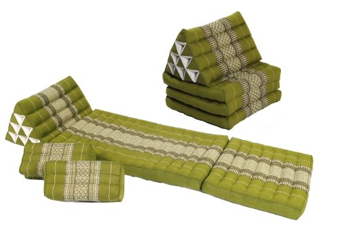 Mutual Meditation Set: Cushions and Pillows in Thai Traditional Design Bamboogreen, 4 Pieces by Handelsturm