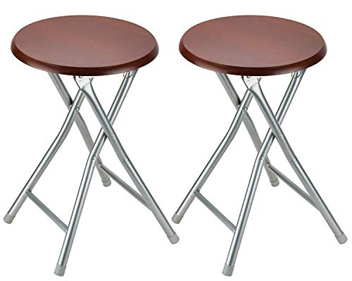 (DecorRack Wooden Seat Folding Stool, 18 inch Portable Lightweight Foldable Chair, Collapsible Sitting Stool with Wooden Seating Top, Cherry (2 Pack))