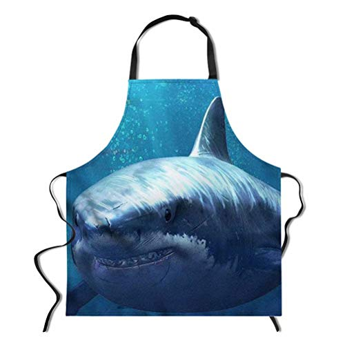 Dellukee Women Men Cute Kitchen Apron with Adjustable Neck Blue Shark Printed Unique Cool Waterproof Aprons for Home Restaurant BBQ Grill, 29.5