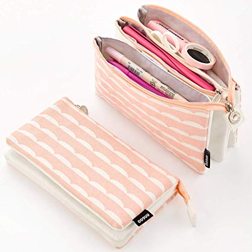 Aineeba Big Capacity Pencil Pen Case Office College Large Storage High Capacity Bag Pouch Holder Box Organizer New Arrival (Pink)
