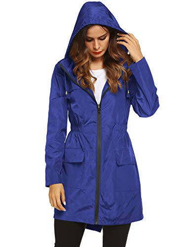LOMON Womens Lightweight Waterproof Rain Jacket Active Outdoor Hooded Raincoat with Pockets Royal Blue M