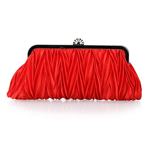 Kuke Silk Pleated Bags Party Clutch Wedding Evening Handbags Purse Womens red Cocktail Satin rxCw1q8rR