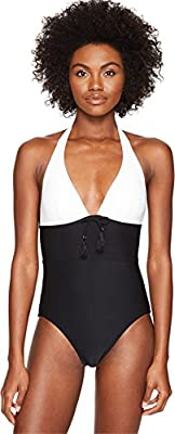 Kate Spade New York Womens Carmel Beach #60 Color Blocked Halter One-Piece Swimsuit w/Removable Soft Cups