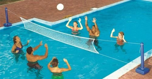 (VirtualSurround 9186 Cross Inground Swimming Pool Fun Volleyball Net Game Water Set)