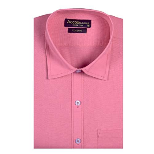 ACCOX Men's Half Sleeves Formal Regular Fit Cotton Solid Plain Shirt(GO601)