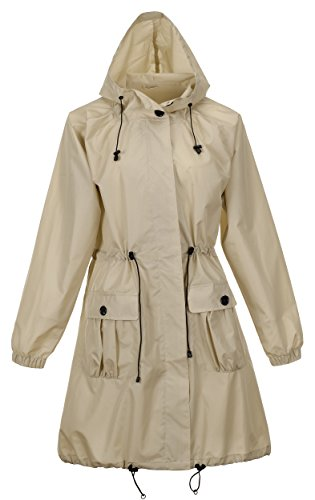 QZUnique Women's Lightweight Long Raincoat with Pockets Waterproof Packable Waist Tiecod Raincoats Windbreak Jackets Khaki