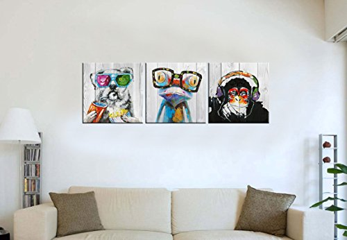 "Abstract Animal Painting Canvas Prints Cool Dog Eat Breakfast & Gorilla Monkey Listen Music & Frog Wear Glasses on Vintage Wood Wall Art 16""x16""x3 by Kolo Wall Art (Image #2)"