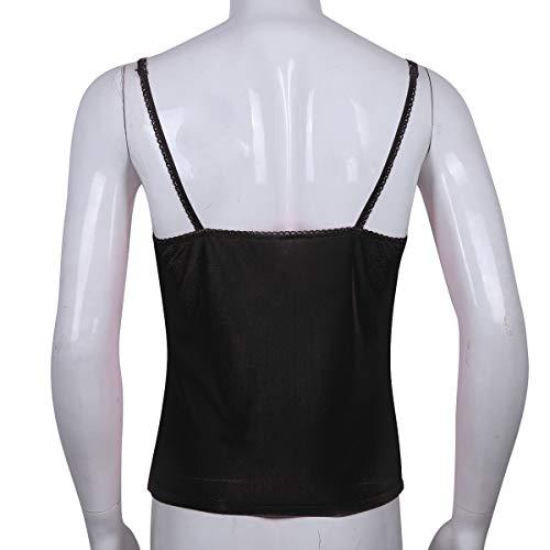 cb7afec4 YOOJIA Sexy Men's Sissy Solid Camisole Strappy Crossdress Lingerie Vest  Tank Tops Nightwear Black X-