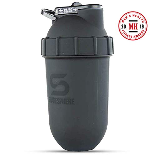 ShakeSphere Tumbler: Protein Shaker Bottle, 24oz ● Capsule Shape Mixing ● Easy Clean Up ● No Blending Ball or Whisk Needed ● BPA Free ● Mix & Drink Shakes, Smoothies, More ● Matte Black/Black Logo