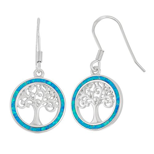 Beaux Bijoux Sterling Silver and Gold Tone Created Opal, MOP or Abalone Tree of Life Circle Earrings