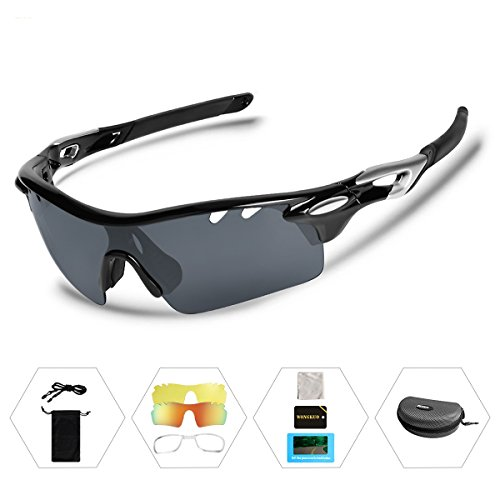 Wongkuo Polarized Sunglasses Interchangeable Lenses for Cycling Running Fishing Driving - Prescription With Interchangeable Sunglasses Lenses