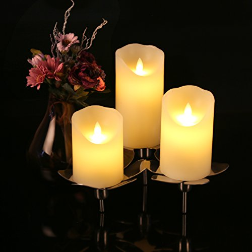 Flameless Candles 4″ 5″ 6″ Set of 3 Ivory Dripless Real ...