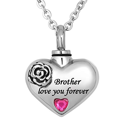 Casa De Novia Heart Love Cremation Urn Necklace for Ashes Flower Keepsake Memorial Pendant Jewelry for -