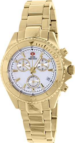 Swiss Precimax Women's SP12186 Manhattan Elite Mother-Of-Pearl Dial Gold Stainless Steel Band Watch