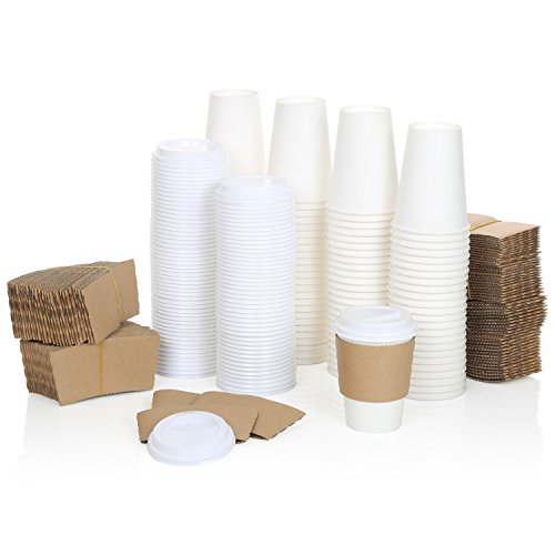 100 Pack of Premium 12oz White Disposable Coffee Hot Cups +2 Piece Accessory Bundle of Secure Fit Lids, Corrugated Sleeves,- 100% Recyclable – Perfect for Hot & Cold Drinks - by A1 DEAL