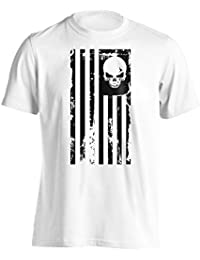 American Flag Skull Military T-Shirt
