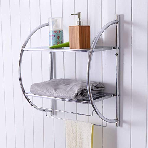 TANGKULA 2-Tier Bathroom Shelf with Towel Bars, Wall Mounted Bathroom Shelf, Home Toilet Double Layer Organizer Storage Shelf, Rustproof Chrome Shelf, Towel Shelf