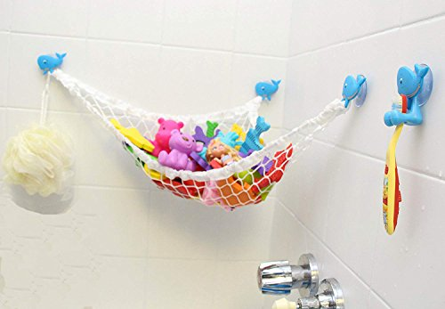 Kid Baby Bath Toy Organizer with 3 Strong Suction Cups - Bath Toy Storage Net and Corner Shower Caddy Bag for Kids - The Bathroom Storage Ideas for Baby Boys and Girls (White) from AngelcareBaby