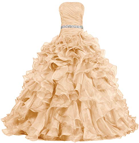 - ANTS Women's Pretty Ball Gown Quinceanera Dress Ruffle Prom Dresses Size 2 US Champagne