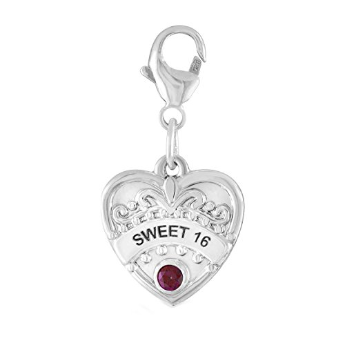 Sterling Silver Sweet - Esty & Me Sweet 16 Heart Charm With Personalized Simulated Birthstone, In Sterling Silver - July