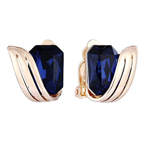 BriLove Wedding Bridal Clip-On Earrings for Women Emerald Cut Crystal Floral Leaf Earrings Navy Blue Sapphire Color Gold-Toned
