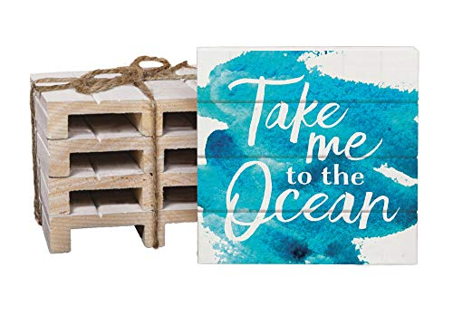 Take Me To The Ocean Blue Watercolor 4 x 4 Inch Dried Pine Wood Pallet Coaster, Pack of 4