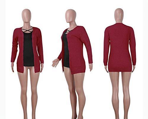Monocromo Donna Relaxed Forcella Maglia Tempo Maglioni Elegante marca Libero Mode di Maglia Cardigan Aperto Invernali Autunno Moda Pullover A Lunghe Cappotto Maniche A Giacca A pwCSqpr