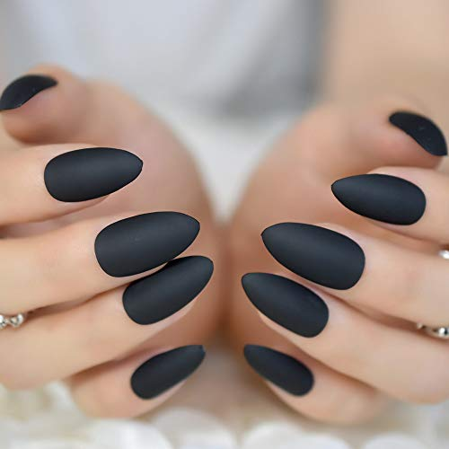 - Fashion Matte Frosted Stiletto False Fake Nails Pure Burgundy Pink Grey Oval Sharp Pointed Classic Black Blue Red Design Tips matte black