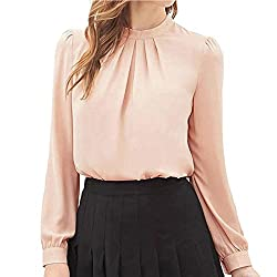 Fapizi ♥ Women Blouse ♥ Women Summer Fold Casual Chiffon Long Sleeve Shirt Tops Blouse (S, Pink)