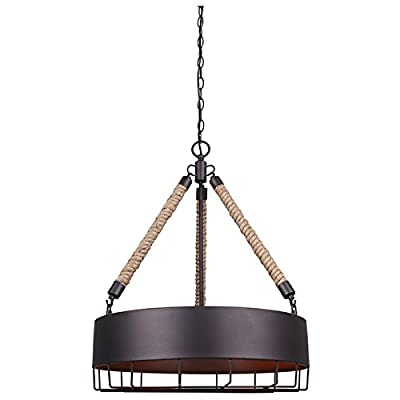 "Canarm ICH662A04ORB20 Portsmouth 4 Light 19 3/4 In Chain Chandelier with Metal Shade - Size: Type A, 19 3/4"" W x 24 1/2"" H Metal shade 4 x 100W A bulbs - kitchen-dining-room-decor, kitchen-dining-room, chandeliers-lighting - 41ylU0pZTHL. SS400  -"