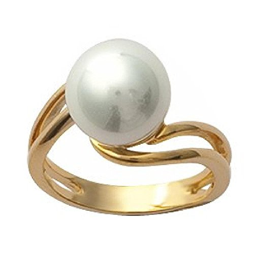 So Chic Jewels - 18k Gold Plated White Pearl Wave Ring - Size 5.5