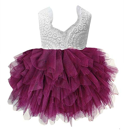 2Bunnies Girl Peony Lace Back A-Line Tiered Tutu Tulle Flower Girl Dress (Plum Sleeveless, 7-8YRS) (Dress Plum Kids)